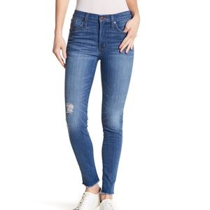 "Madewell 9"" Mid Rise Skinny Jeans Raw Hem Blue"